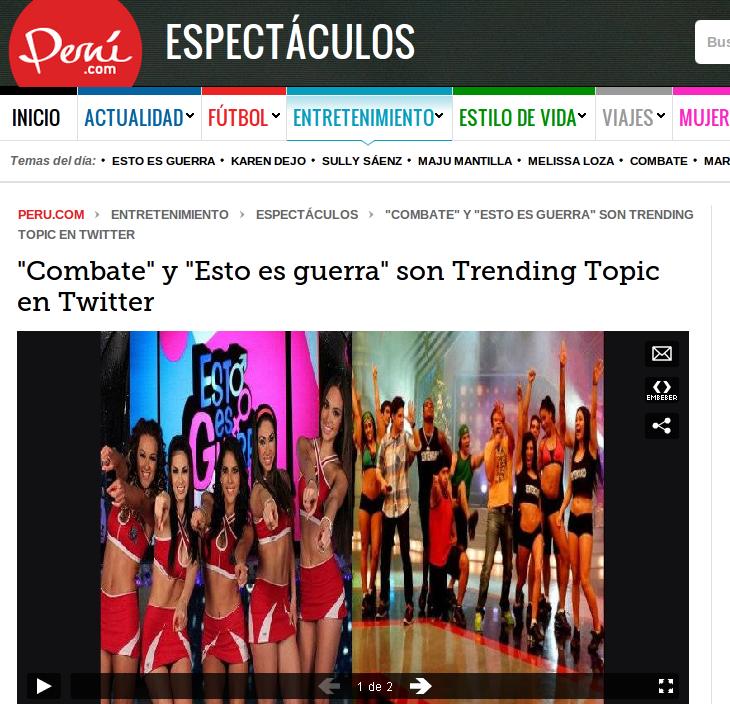 Combate es trending topic, señala Peru.com