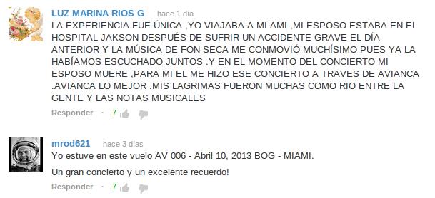 Comentarios en video de Avianca